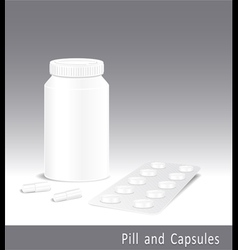 Template pharmacy of pills capsules and bottle vector