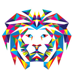 Head lion polygonal vector
