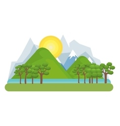 Natural landscape with mountains vector