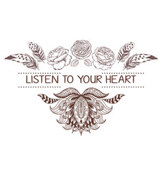 hand drawn boho style design with lotus rose vector image