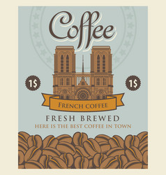 Banner with coffee beans and notre dame de paris vector