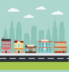 building main street city commercial cityscape vector image