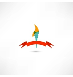 Torch with red tape vector