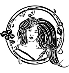 Girl portrait in the Art Nouveau style vector image