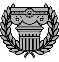 ancient ionic column with laurel wreath vector image