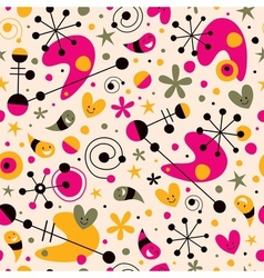Funky cartoon retro seamless pattern vector