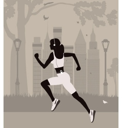 Running woman in new york vector