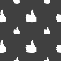 Like thumb up icon sign seamless pattern on a gray vector