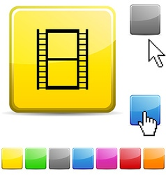 Cinema glossy button vector