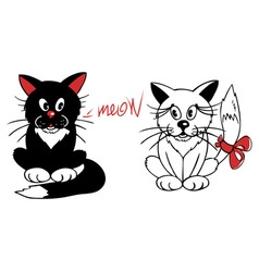 Black and white cat vector