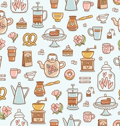 Tea time yummy seamless pattern on light blue vector