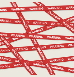 Warning ribbons over gray background vector