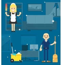 Cleaners on the office background vector