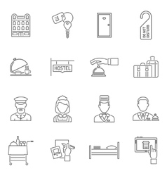 Hotel icons line set vector