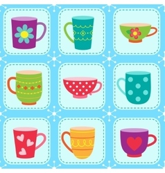 Tea cups pattern vector image