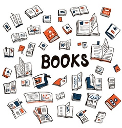 Many books sketchy background - vector