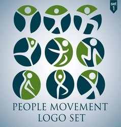 People movement logo set 1 vector