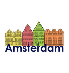 Amsterdam canal houses netherlands symbol travel vector