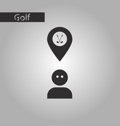 black and white style icon golfer logo vector image