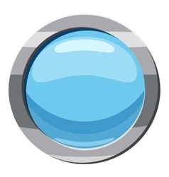Blue round button icon cartoon style vector image