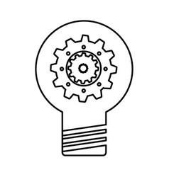 bulb light with gear vector image
