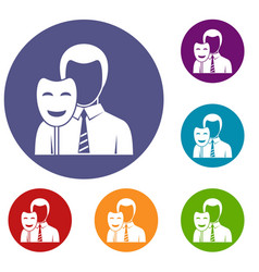 Businessman holding smile mask icons set vector
