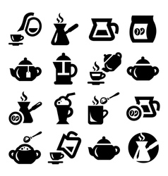 coffee and tea icons set vector image vector image
