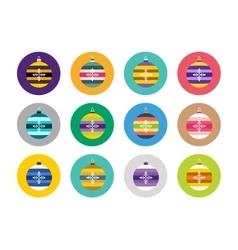 Colorful christmas balls flat icons set vector image