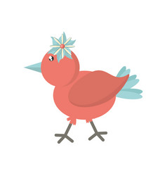 Cute bird flower comic icon vector
