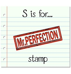 Flashcard letter s is for stamp vector