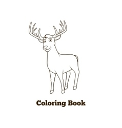 Forest animal deer cartoon coloring book vector