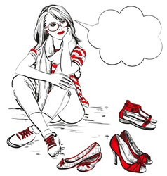 Girl sitting around with shoes vector