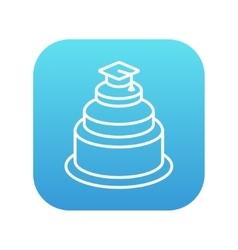 Graduation cap on top of cake line icon vector image