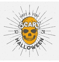 Halloween 2016 party label template with skull vector