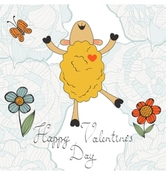 Happy valentines day with cute sheep vector image