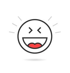 joyful thin line emoji icon with shadow vector image