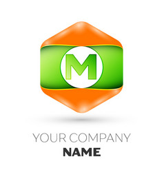 letter m logo in the colorful hexagonal vector image