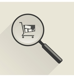 Magnifier icon and shopping trolley vector