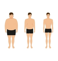 Male weight loss slimming man body after diet vector