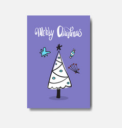 merry christmas card doodle design cute hand drawn vector image