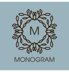 Monogram design floral outline frame or vector image vector image