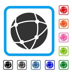 Network sphere framed icon vector