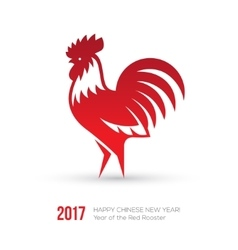 New Year 2017 card with red rooster icon vector image vector image