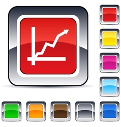 positive trend square button vector image vector image