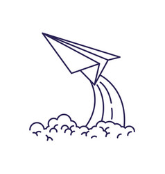 Purple line contour of paper plane launch vector