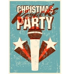 Retro grunge Christmas karaoke party poster vector image vector image