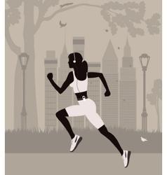 Running woman in new york vector