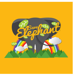 save elephant conservative concept vector image vector image