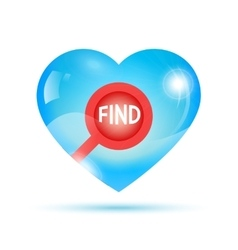 search icon inside shiny heart vector image
