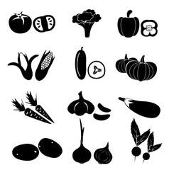 set of black simple vegetables icons eps10 vector image